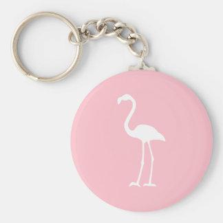 Pink and White Flamingo Key Ring