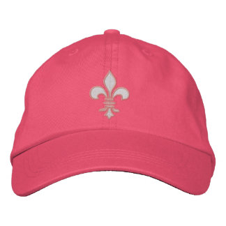 Pink and White Fleur de Lis Embroidered Hat