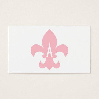 Pink and White Fleur de Lis Monogram Business Card