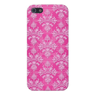 Pink and White Floral Damask Pattern Cover For iPhone 5