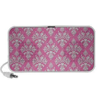Pink and White Floral Damask Pattern Speaker