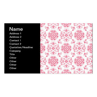 Pink and White Floral Damask Style Pattern Pack Of Standard Business Cards