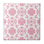 Pink and White Floral Damask Style Pattern Small Square Tile