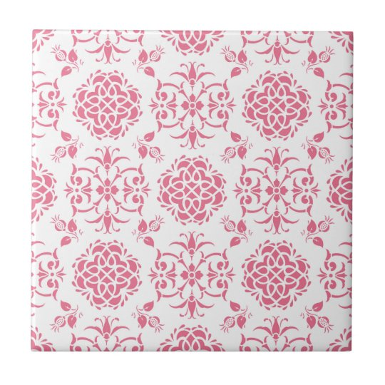 Pink and White Floral Damask Style Pattern Tile