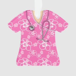 Pink And White Floral Medical Scrubs