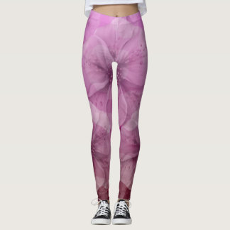 Pink and White Floral Ombre Leggings