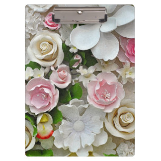 Pink and white floral pattern clipboard