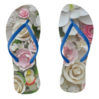 Pink and white floral print flip flops