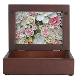 Pink and white floral print keepsake boxes
