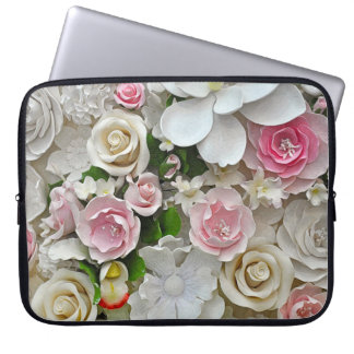 Pink and white floral print laptop sleeve