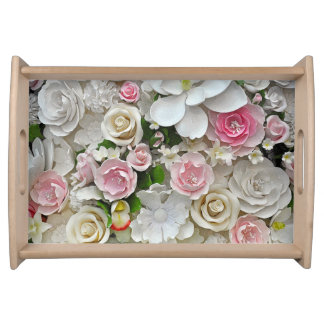 Pink and white floral print serving tray