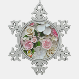 Pink and white floral print snowflake pewter christmas ornament