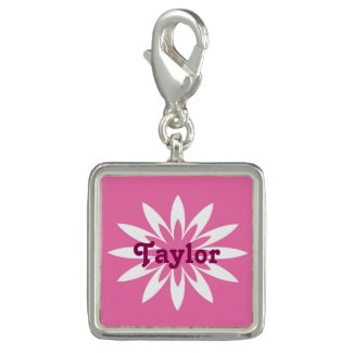 Pink and white flower monogram charm