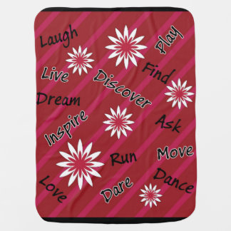 Pink and white flower motivational baby blanket