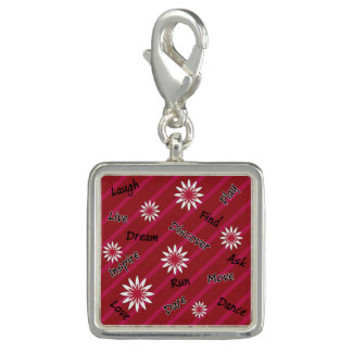 Pink and white flower motivational charm