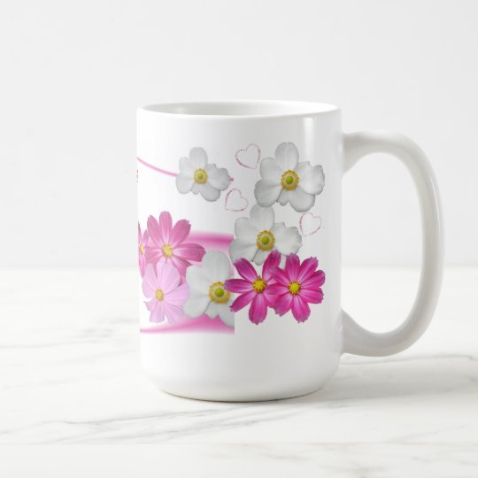Pink and White Flower Mug with Personal Name