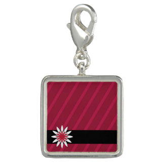 Pink and white flower stripes charm