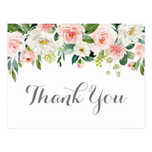 Pink and White Flower Wedding Thank You Postcards