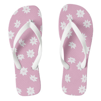 Pink and White Flowers Flip Flops