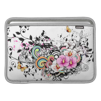 Pink and White Flowers MacBook Sleeves