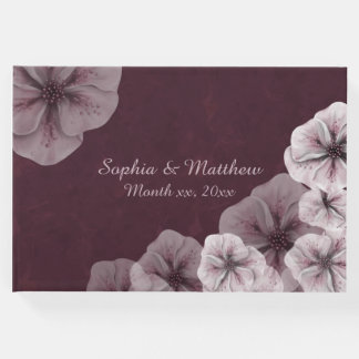 Pink and White Flowers on Burgundy Guest Book