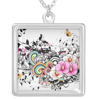 Pink and White Flowers Silver Plated Necklace