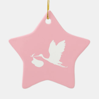 Pink and White Flying Stork Christmas Ornament