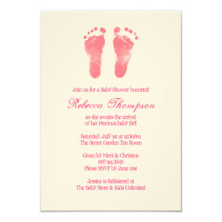 "Pink and White Foot Prints Baby Shower 3.5"" X 5"" Invitation Card"