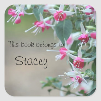 pink and white fuchsia flowers bookplate stickers
