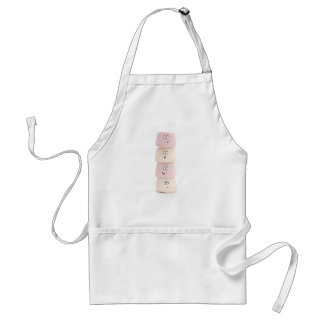 pink and white funny marshmallow characters apron