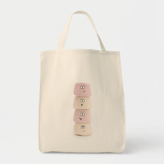 pink and white funny marshmallow characters bag