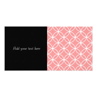 Pink and White Geometric Design Overlapping Circle Custom Photo Card