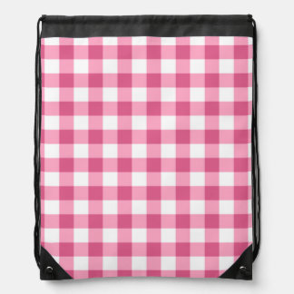Pink And White Gingham Check Pattern Drawstring Backpack