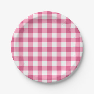 Pink And White Gingham Check Pattern Paper Plate