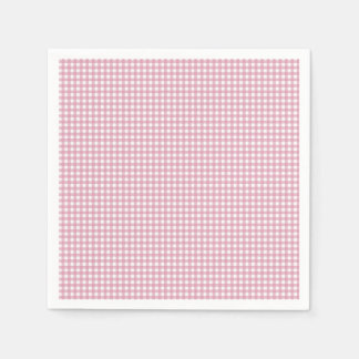 Pink and White Gingham Paper Napkin