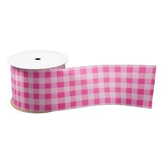 Pink and White Gingham Pattern Ribbon Satin Ribbon