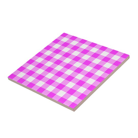 Pink and White Gingham Pattern Small Square Tile