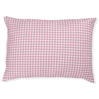 Pink and White Gingham Pet Bed