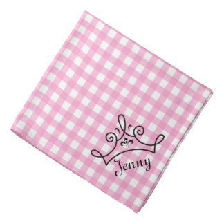 Pink and White Gingham With Crown Bandana
