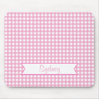 Pink and White Gingham with Custom Name Mouse Mat