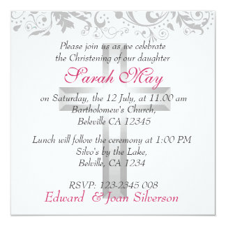 Pink and White girl christening Baptism 13 Cm X 13 Cm Square Invitation Card