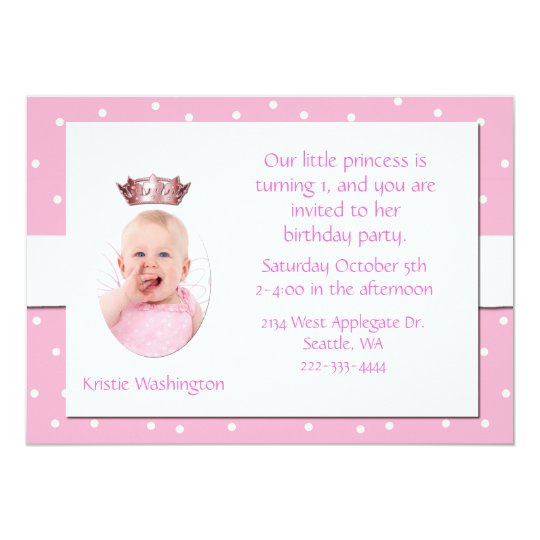 Pink and White Girl's Birthday Party Invitation