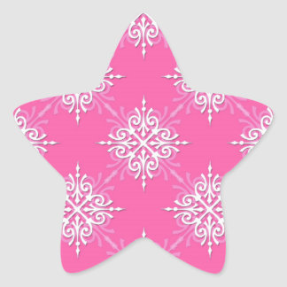 Pink and White Girly Damask Pattern Star Sticker