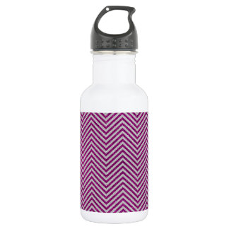 Pink and White Glitter Zig Zag 532 Ml Water Bottle