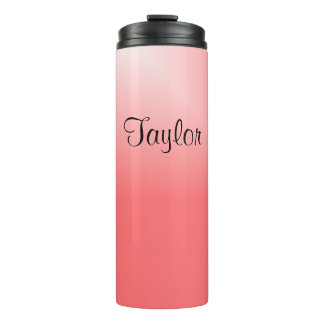 Pink and White Gradient Designs Thermal Tumbler
