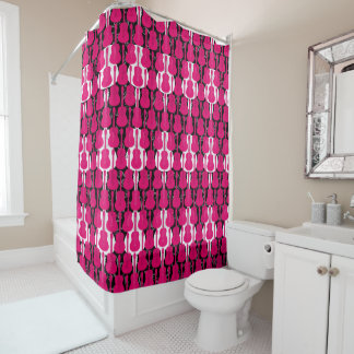 Pink And White Guitars Shower Curtain