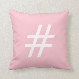 Pink And White Hashtag Cushion