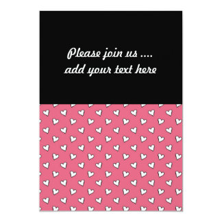 Pink and White Heart Pattern 13 Cm X 18 Cm Invitation Card