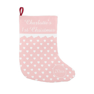 Pink and White Hearts 1st Christmas Personalized Small Christmas Stocking