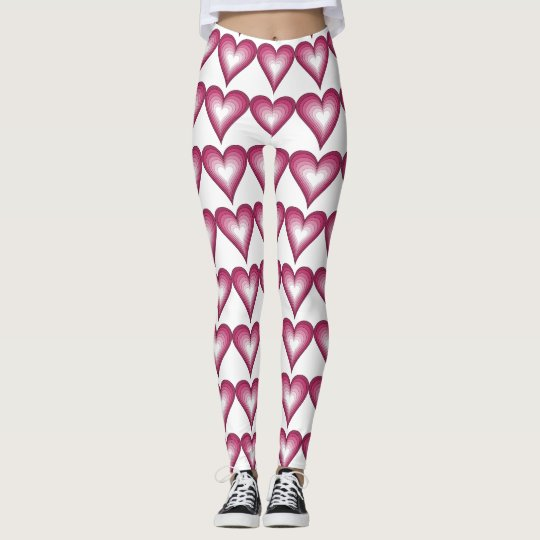 PINK AND WHITE HEARTS LEGGINGS